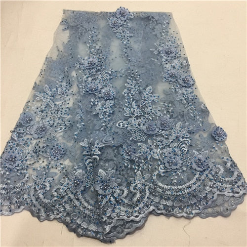 2018 high quality lilac purple French net lace fabric 3D flowers African tulle lace with beads for party ZLN51