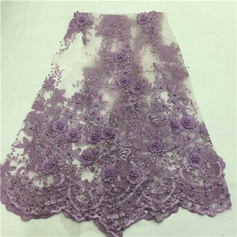 Image of 2018 high quality lilac purple French net lace fabric 3D flowers African tulle lace with beads for party ZLN51