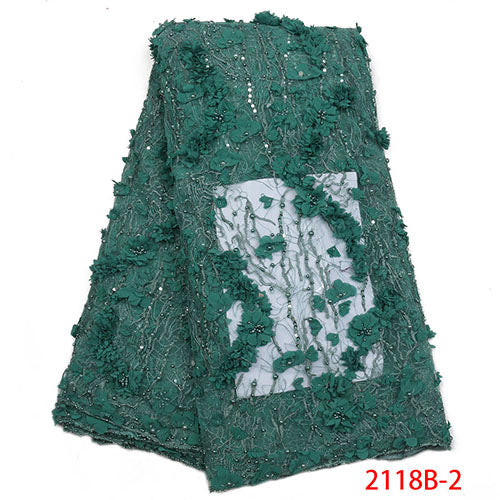 2018 High Quality African Beaded Lace Fabric French Net Embroidery Tulle Lace Fabric For Nigerian Wedding Party Dress XY2118B-4