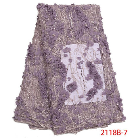 Image of 2018 High Quality African Beaded Lace Fabric French Net Embroidery Tulle Lace Fabric For Nigerian Wedding Party Dress XY2118B-4