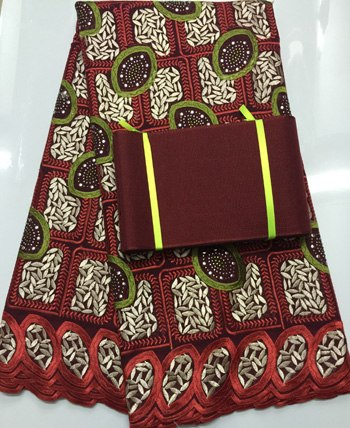 Image of African swiss voile lace high quality ,wedding lace African Fabric 100% Cotton Swiss Voile Lace matching aso-oke headtie  NAX002