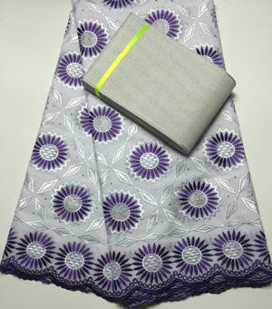FREE SHIPPING BY DHL  african lace fabric 100% cotton SWISS VOILE LACE match aso-oke headtie NAX015 white with purple