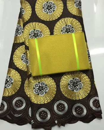 Image of African swiss voile lace high quality ,wedding lace African Fabric 100% Cotton Swiss Voile Lace matching aso-oke headtie  NAX004