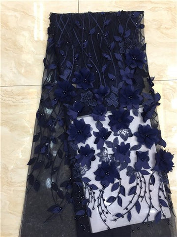 Image of French lace fabric 5yds/pce by dhl navy blue 3d petals leaf beaded fabrics for women luxury dress 2019 high quality new arrival