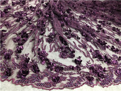 Image of French lace fabric 5yds/pce by dhl green 3d petals heavy beads for women elegant dress 2019 new design high quality