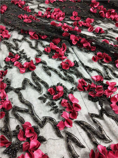 French lace fabric 5yds/pce by dhl green 3d petals heavy beads for women elegant dress 2019 new design high quality