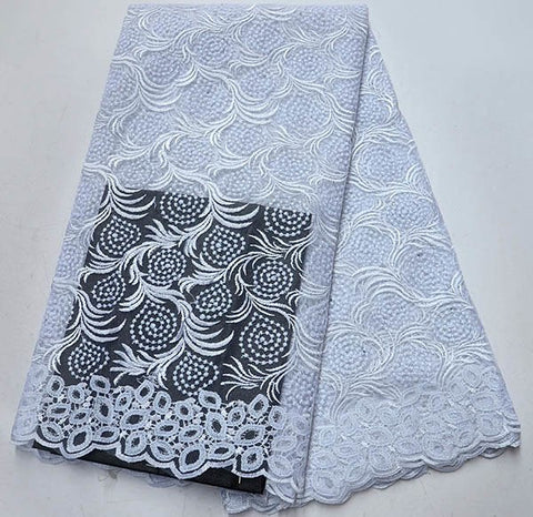 Image of White Color French embroidered Lace Material African french tulle lace fabrics With Stones For Nigerian Wedding dress