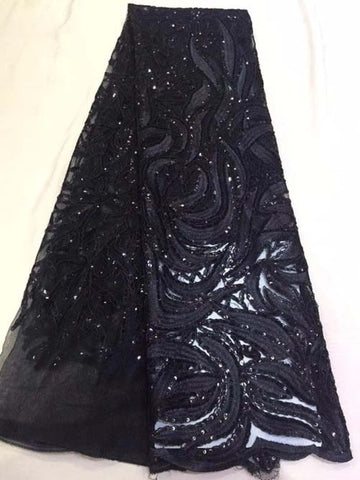 Image of Popular Buying High Class Elegant Navy blue sequins flower African French lace, Breathable Tulle lace fabric