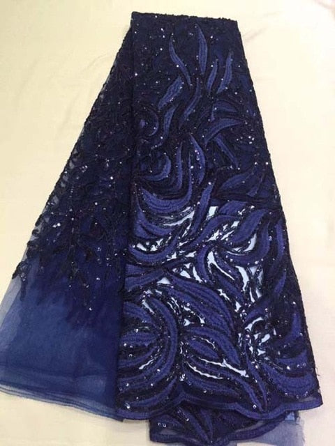 Popular Buying High Class Elegant Navy blue sequins flower African French lace, Breathable Tulle lace fabric