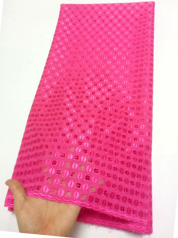 Image of New Arrival High Quality Swiss Voile Lace Fabric Fuchsia Embroidery African cotton Lace Fabric For Wedding dress