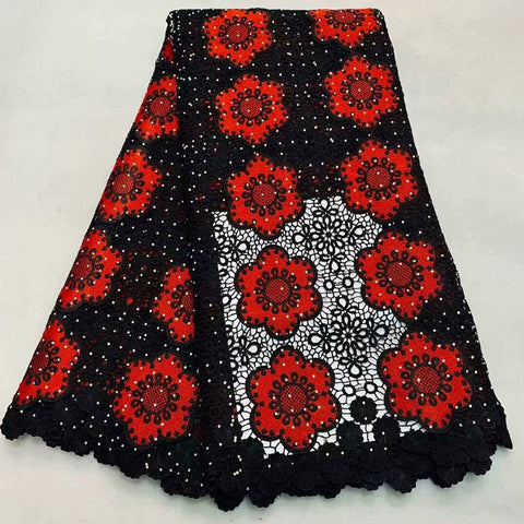 Image of Red+Black French embroidered Guipure Lace Fabric 2018 High Quality African Water Soluble Lace Fabric For Wedding dress