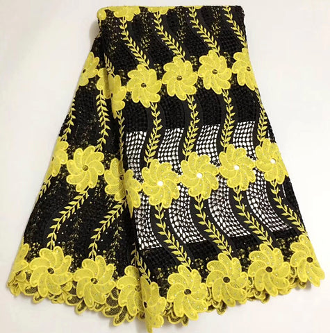 Image of New Beautiful design Black and Yellow Lace Fabric African High Quality Nigerian Guipure Lace Fabric For Women Dress 5yard/lot