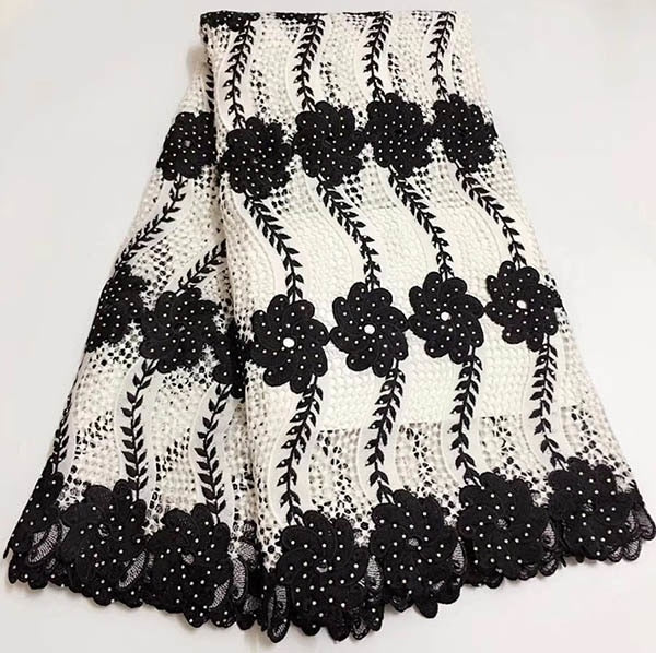 New Beautiful design Black and Yellow Lace Fabric African High Quality Nigerian Guipure Lace Fabric For Women Dress 5yard/lot