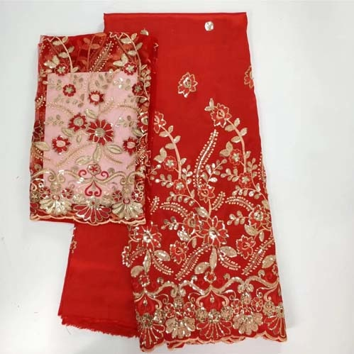 George lace with blouse high quality hot selling african lace fabrics with sequins bead for nigerian wedding