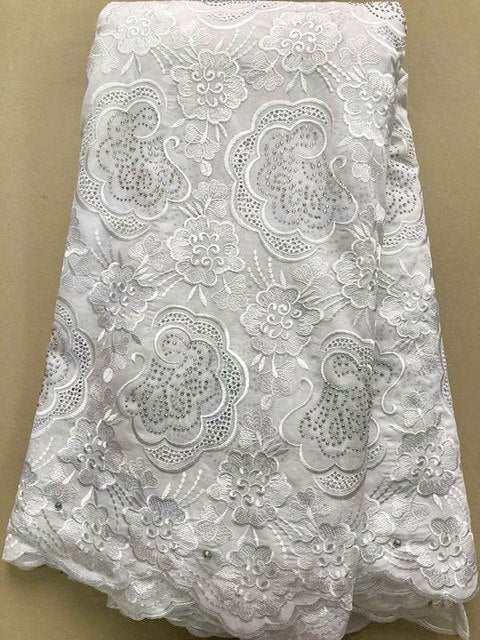 Nigerian Lace Fabric 2018 High Quality with stones Swiss Voie Lace Embroidery African Cotton Lace Fabric For Party dress