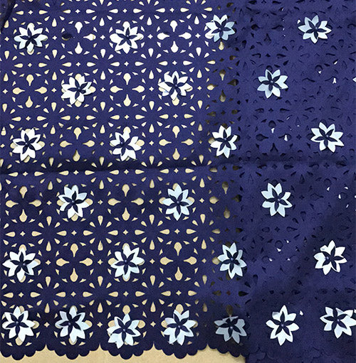 Dark blue african fabric with beads for wedding decoration high quality 3d applique lace purple white latest french lace