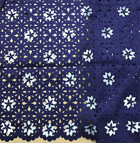 Image of Dark blue african fabric with beads for wedding decoration high quality 3d applique lace purple white latest french lace
