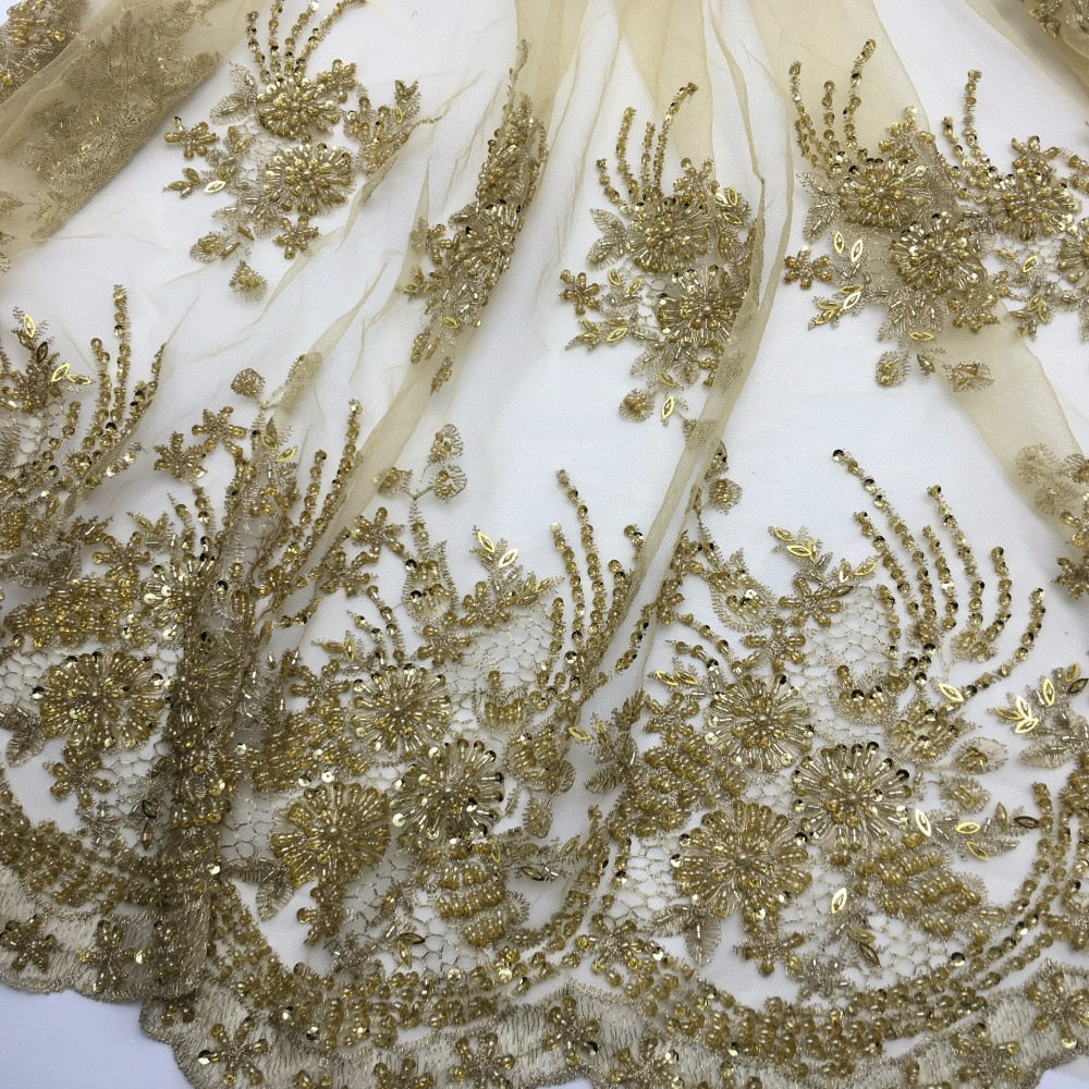 2yards New fashionable heavy beaded African French Lace Fabric on Tulle embroidery bridal wedding dress Lace Fabric
