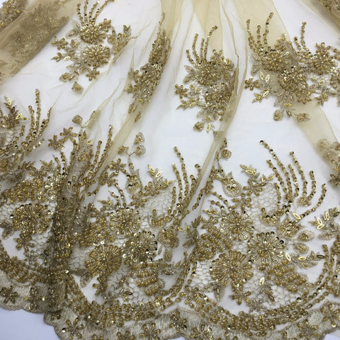Image of 2yards New fashionable heavy beaded African French Lace Fabric on Tulle embroidery bridal wedding dress Lace Fabric