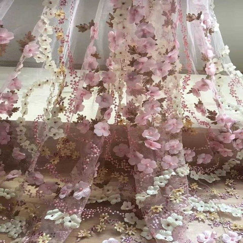 Image of 2018 Latest French net lace fabric 3D flower African tulle mesh lace fabric with beaded high quality african lace fabricJH04