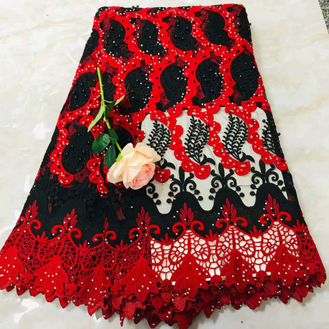 Image of Black and red African Laces Fabric Embroidered Nigerian Guipure French Lace Fabric High Quality 2018 French Net Lace Fabric