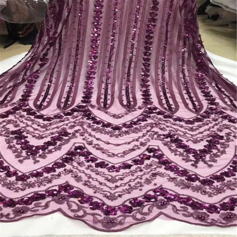 Image of 2018 Latest Wine Red African Lace Fabric With Embroidery Mesh Tulle Nigerian Sequins Lace Fabrics For a wedding dress HJ661-1