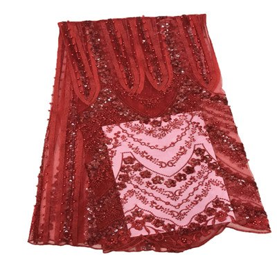 2018 Latest Wine Red African Lace Fabric With Embroidery Mesh Tulle Nigerian Sequins Lace Fabrics For a wedding dress HJ661-1