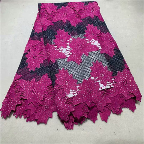 Image of African Lace Fabric 2019 New Design African Guipure Cord Lace High Quality African Swiss Voile Lace 5 Yards For Wedding Dresses