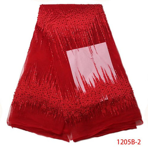 Image of Red Beaded Lace Fabric 2017 Fashion African Lace Fabric Tulle With Beads African French Lace Fabric High Quality XY1205B-2