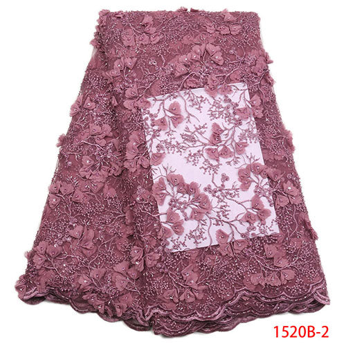 Latest Nigerian Lace Fabric 2018 High Quality African Lace Fabric With Handmade Beaded 3d Embroidery For Wedding Dress XY1520B-1