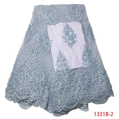 African Lace Fabric 2018 High Quality Lace Embroidery Fabric 5Y African Lace With Handmade Beading Navy Blue African French Lace