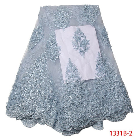 Image of African Lace Fabric 2018 High Quality Lace Embroidery Fabric 5Y African Lace With Handmade Beading Navy Blue African French Lace
