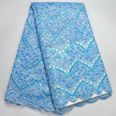 Image of 2018 Latest African Lace Fabric High Quality Nigerian Tulle Lace Fabric With Sequins Sky blue Color Organza Lace Fabric