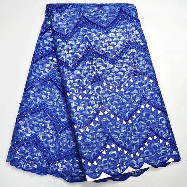 2018 Latest African Lace Fabric High Quality Nigerian Tulle Lace Fabric With Sequins Sky blue Color Organza Lace Fabric