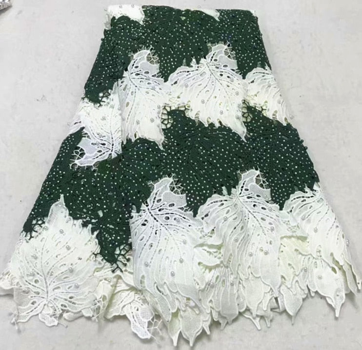 Fashionable High Quality Nigerian Embroidery Lace Fabric African Guipure Lace Fabric With Beads For Wedding Dress 5Yards NLY47-2