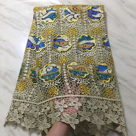 Image of Hot Sale African Wax Lace Fabrics Cotton Guipure Lace African Ankara Wax Fabric With Embroidered For Party PLA26-1