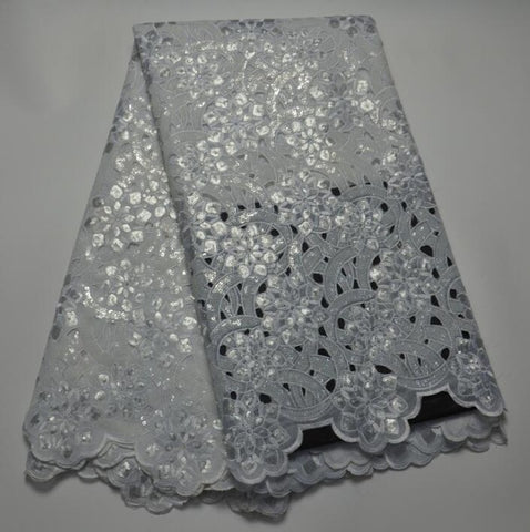 Image of French Lace Fabric High Class African Laces Fabric Double Organza With Sequins Embroidery For Sewing Beauty Women Dress