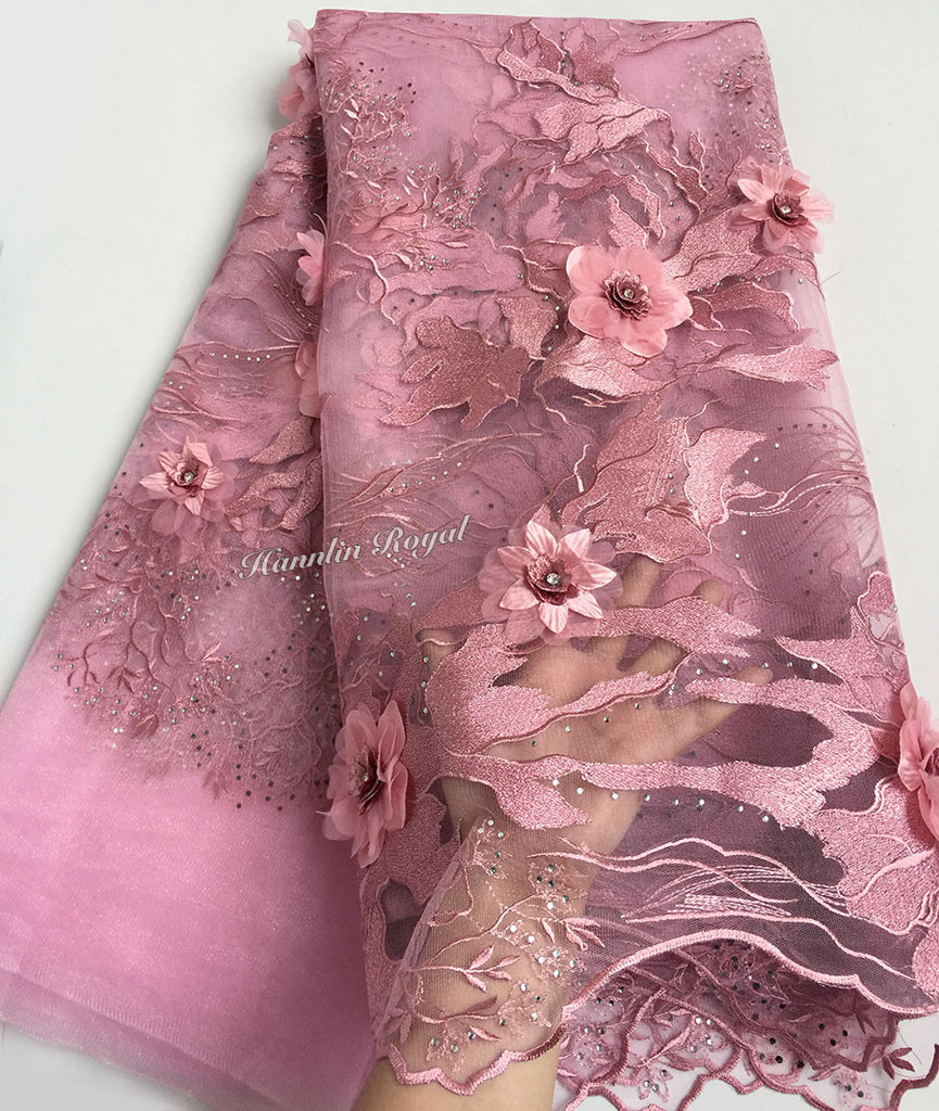 Dusty pink bridal french lace African tulle lace fabric High grade classic sewing material for big occasions 5 yards /PC 7481