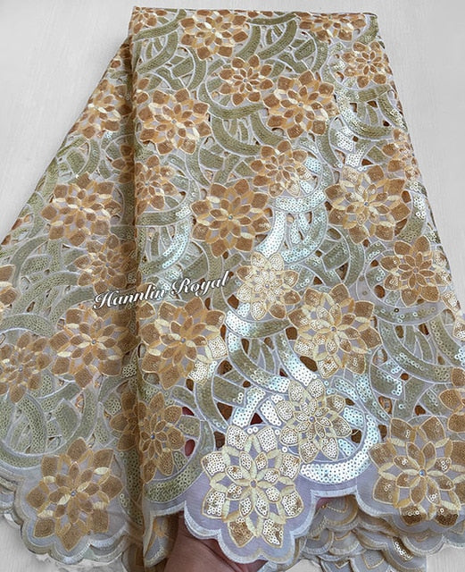 Orange Big African Handcut organza lace fabric with allover sequins metallic lurex 5 yards 7101