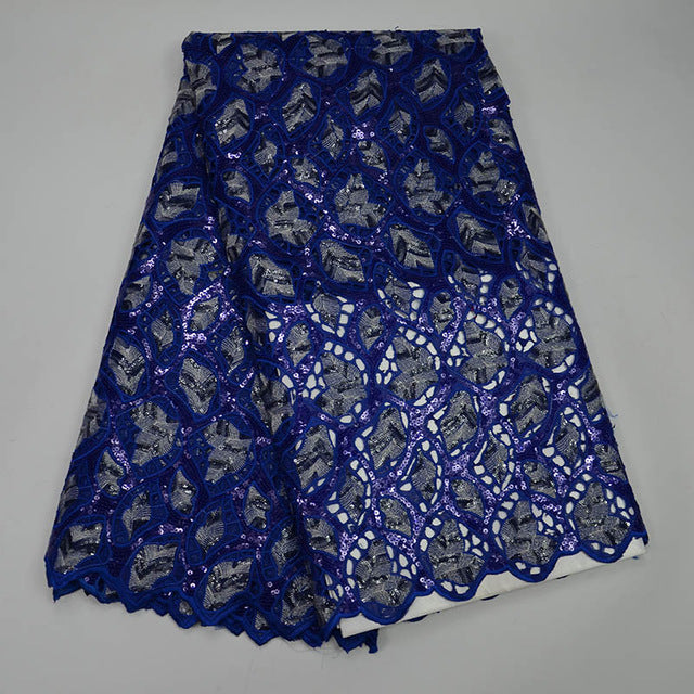 Best Selling Yellow African Lace Fabric With Royal blue Nigerian French Fabric 2017 High Quality Africa Sequins Mesh Lace Fabric
