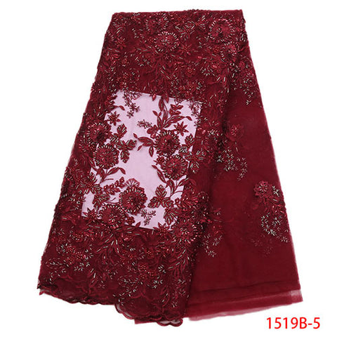 Image of 2018 High Quality African Lace Fabric Gold Pink Wine French Net Embroidery Sequins Tulle Lace Fabric For Nigerian dressNA1519B-1