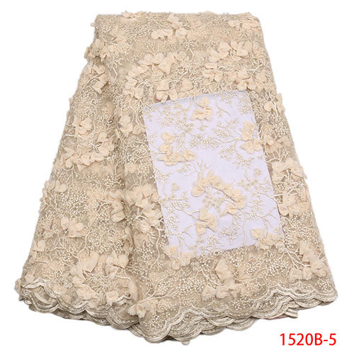2018 French Embroidery Mesh TulLe Lace Fabric 3D Applique African Beaded Lace Fabrics Wholesale For Wedding Party XY1520B-6