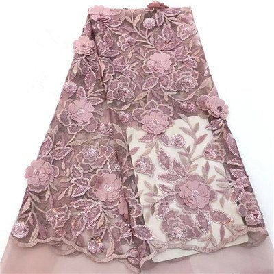 HFX Embroidered 3D Flowers In Pink French Lace Fabric Latest African Laces 2018 High Quality Bridal Sequin Lace Fabric X1385