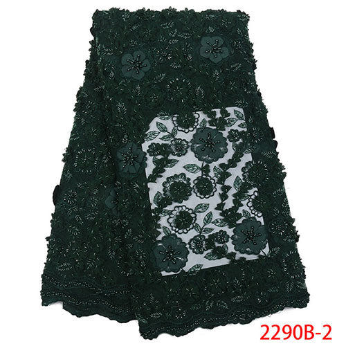 New arrivals african lace fabric with beads high quality 2018 Nigerian wedding dress handmake tulle net lace fabric NA2290B-2