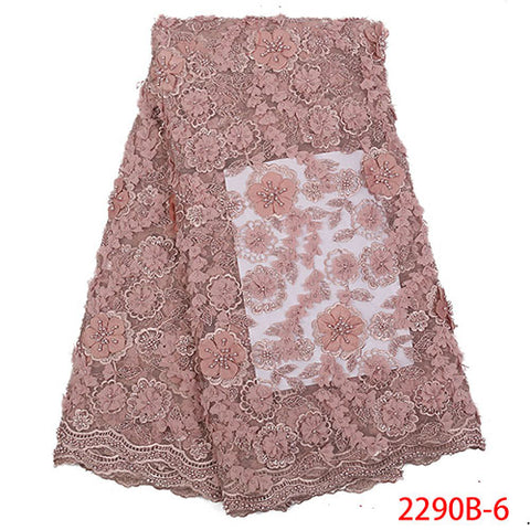 Image of New arrivals african lace fabric with beads high quality 2018 Nigerian wedding dress handmake tulle net lace fabric NA2290B-2