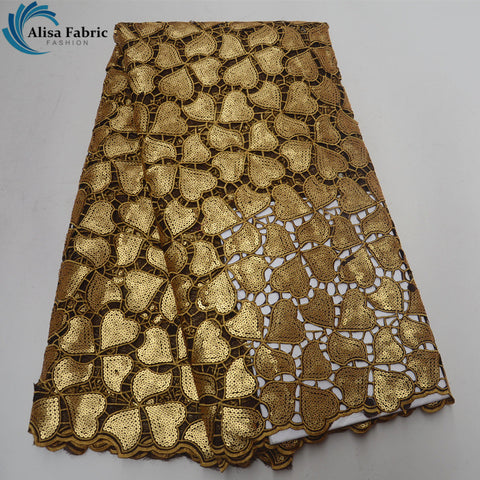 Image of Latest Popular African Lace Fabric With Sequins 5 Yards/pcs Fashion Hollowed-out French Sequin Lace For African Party Dress 2018