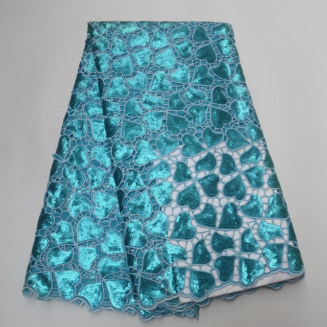 Latest Popular African Lace Fabric With Sequins 5 Yards/pcs Fashion Hollowed-out French Sequin Lace For African Party Dress 2018