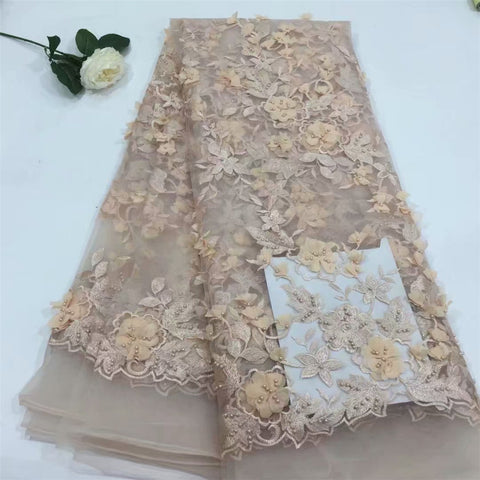 Image of Bridal Nigerian Wedding Lace Materials 3D Lace Fabric High Quality 2018 African Lace Fabric On Sale Beads Lace Fabric H603-2