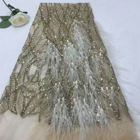Image of 2018 French Laces Fabric 3D Sequins embroidery African Lace Fabrics High Quality For Wedding F676-1