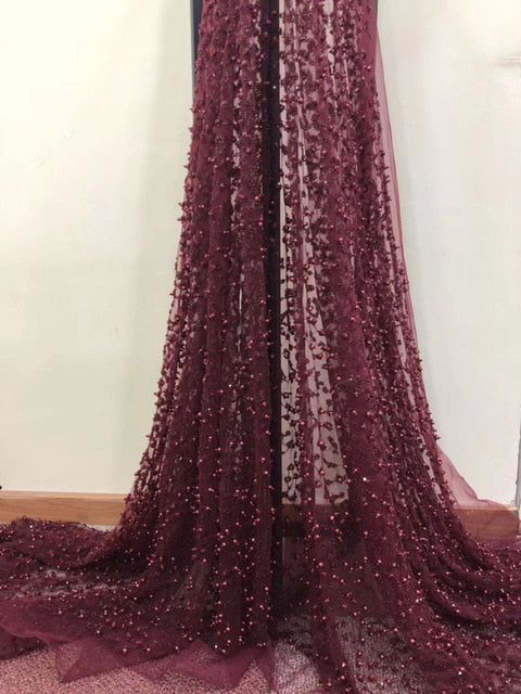 2018 Latest design big heavy bridal tulle lace African french net sewing fabric with lots of Beads sequins For Party dress AD594